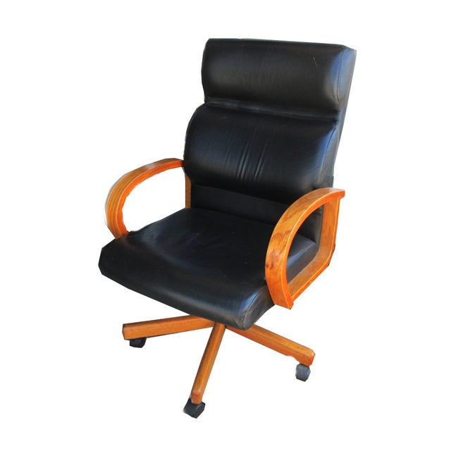 Black Leather Executive Office Chair - Image 1 of 5