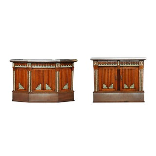 French Art Deco Wet Bar and Side Cabinet - A Pair
