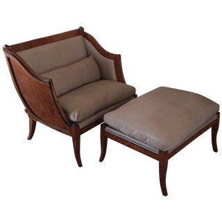 Neoclassical Brown Accent Chair & Ottoman