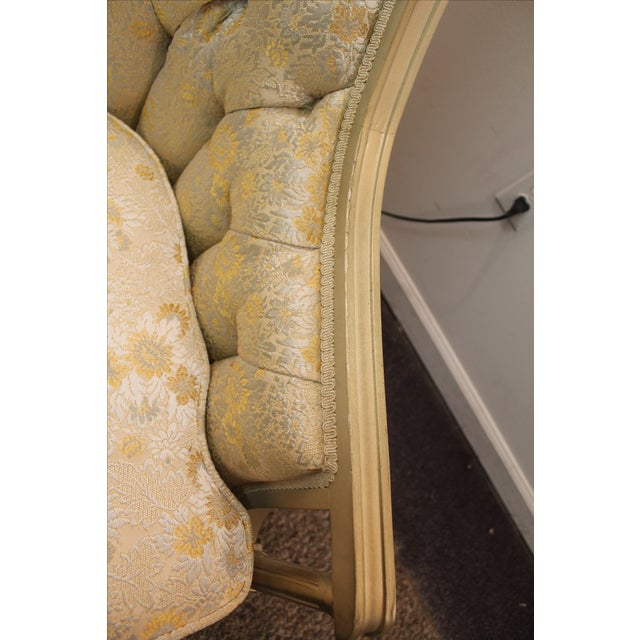 Vintage Tufted Back Louis XV French Bergere Chair - Image 10 of 11