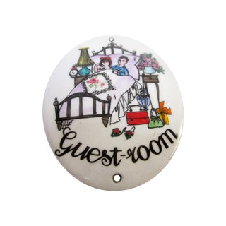 "Austrian Porcelain Enamel Metal Sign ""Guest Room"""