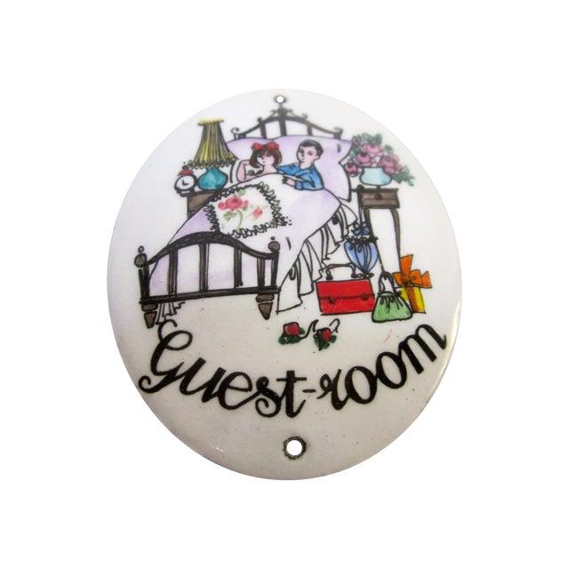 """Image of Austrian Porcelain Enamel Metal Sign """"Guest Room"""""""