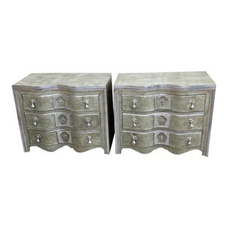 Painted & Silver Gilt Commodes - A Pair