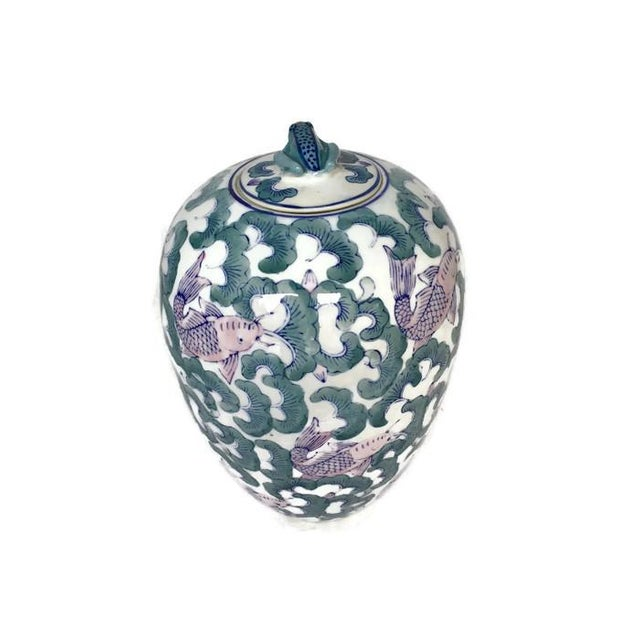 Image of Koi Fish Chinoiserie Ginger Jar Vase