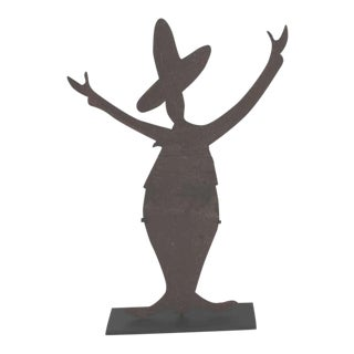Iron Folk Art Mexican Silhouette Sign on Stand