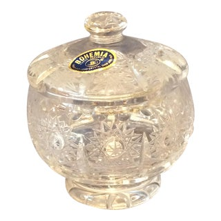 Small Bohemia Chech Republic Lidded Crystal Bowl