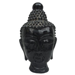 Black & Gold Glazed Buddha Head