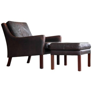 Børge Mogensen Style Low Back Easy Chair with Ottoman by Georg Thams