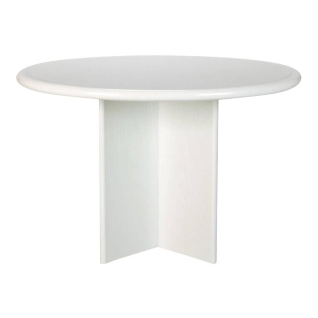 Mid Century White Lacquered Round Table - Image 1 of 8