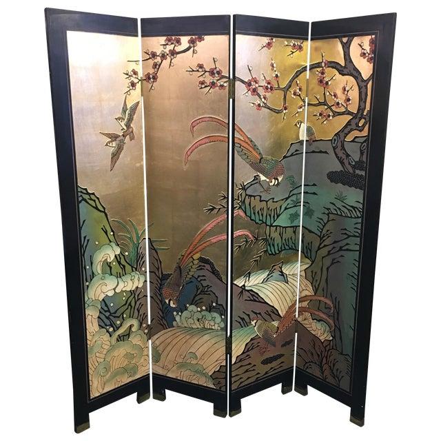Four Panel Metallic Chinese Screen - Image 1 of 10
