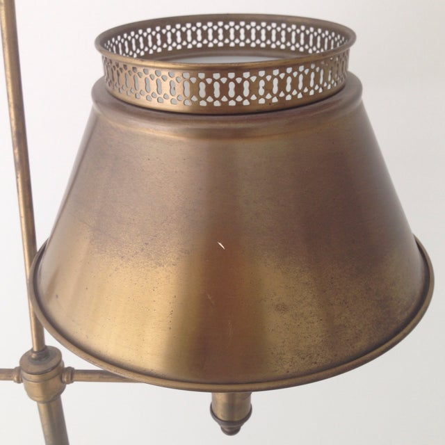 Aged Brass Tole Floor Lamp - Image 6 of 11