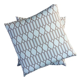 Vintage Aqua Moroccan Tile Pillows - A Pair