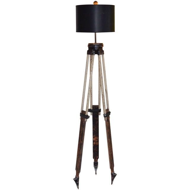 Black-And-White Surveyor's Tripod Floor Lamp - Image 1 of 7