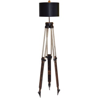 Black-And-White Surveyor's Tripod Floor Lamp