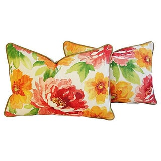 Jewel-Tone Floral Lumbar Pillows - A Pair