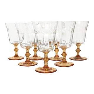 Crystal Goblets With Amber Stems - Set of 7