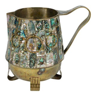 Salvador Teran Abalone Shell & Brass Water Pitcher