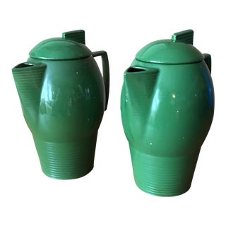 Art Deco Emerald Green Ceramic Pitchers - A Pair