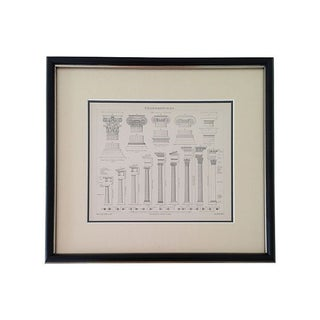 Framed Antique Greek Columns Engraving