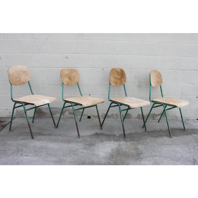 Vintage French Stacking Steel, Bentwood and Leather Schoolhouse Dining Chairs - Set of 4 - Image 8 of 11