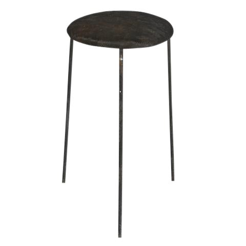 Wrought Iron & Cowhide Seat Stool - Image 1 of 4