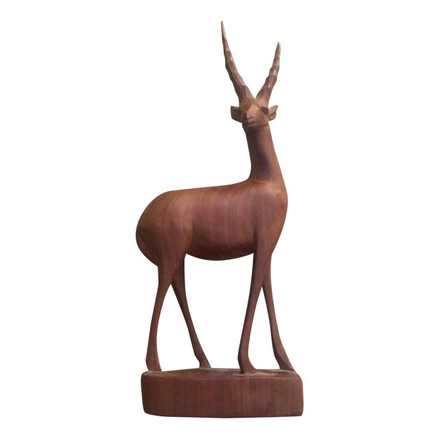 Vintage Carved Wood Deer Statue - Image 1 of 5