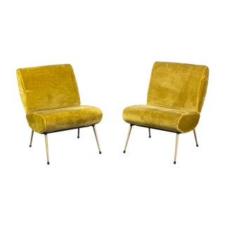 Gold Velvet Modernist Lounge Chairs- A Pair