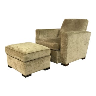 Hickory Chair Gold Mohair Armchair & Ottoman