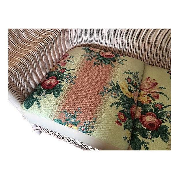 Vintage Pink Wicker Barkcloth Settee Sofa - Image 5 of 8
