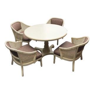 Vintage Cane Barrel Chair Dining Set - Set of 4
