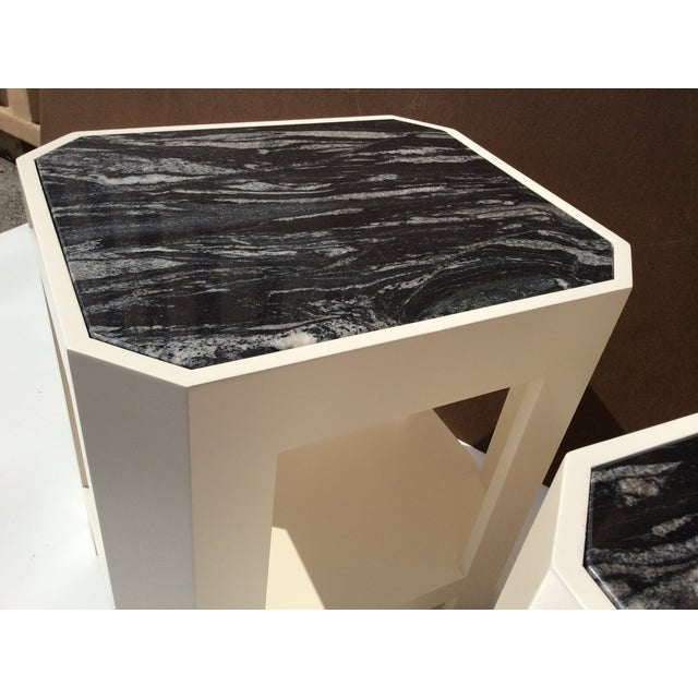 Black Marble Top Side Tables - A Pair - Image 10 of 11