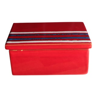 Bitossi Red Striped Italian Art Pottery Box by Raymor