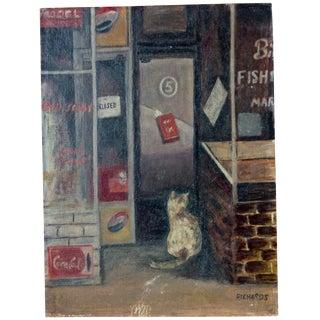 """Kitty at the Fish Market"" Painting"