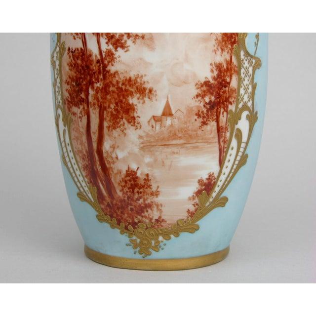 French Antique Porcelain Toile Vase - Image 9 of 10