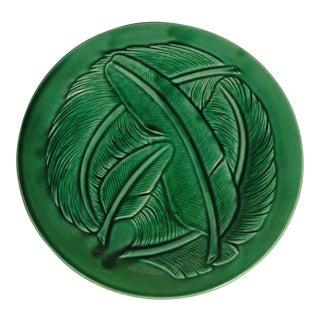 Green Majolica Feather Plate