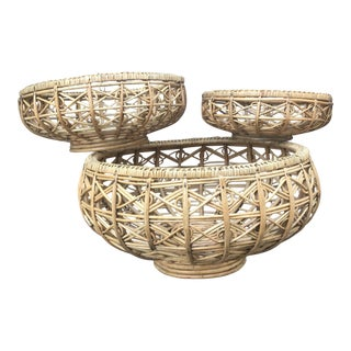 Bohemian Vintage Bamboo Nesting Baskets - Set of 3