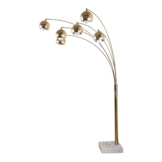 Mid-Century Brass Arc Floor Lamp with Marble Base