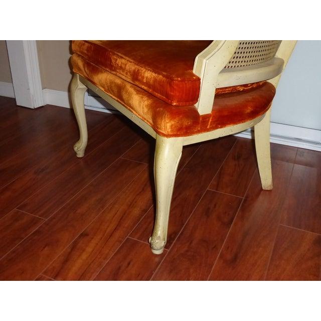 Vintage Cane & Orange Velvet Club Chair - Image 6 of 8
