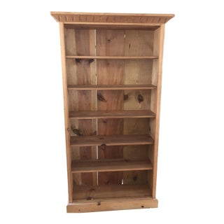 Vintage Hand Carved Rustic Pine Bookcase
