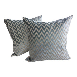"Lee Jofa ""Kila"" Aqua Marine Cut Velvet Chevron Down Pillows- A Pair"