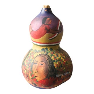 Mid Century Listed Artist Rodolfo Morales - Painted Gourd