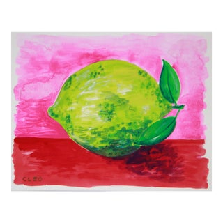 Lime Abstract Still Life Painting by Cleo