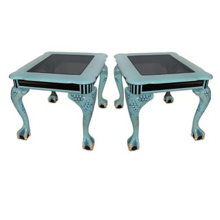 Painted Dragon's Claw Tables W/ Black Glass - Pair