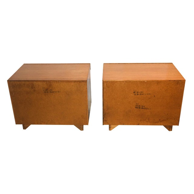 Milo Baughman For Lane Olive Burlwood Nightstands - A Pair - Image 7 of 10