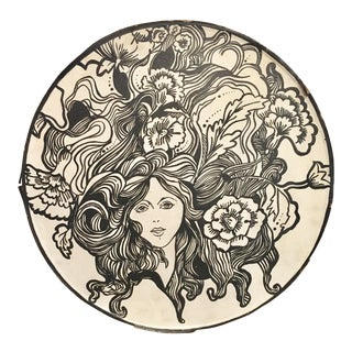 Art Nouveau Woman's Face Round Painting/Drawing