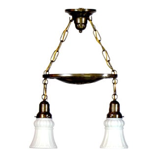 Two Light Brass Pan Fixture