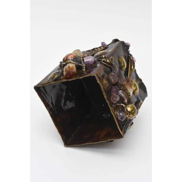 Brutalist Sculptural Mixed Metal and Amethyst, Quartz Tissue Box/ SAT.SALE - Image 10 of 10