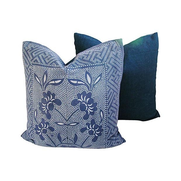 Image of Miao Artisans Indigo Batik Pillows - A Pair