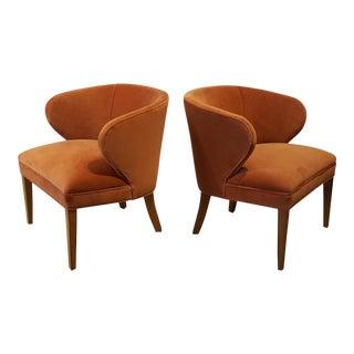 1960s Apricot Velvet Scandinavian Armchairs - A Pair