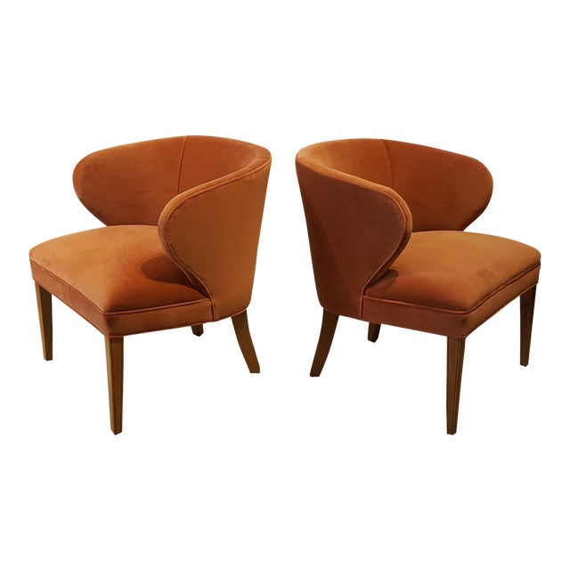 1960s Apricot Velvet Scandinavian Armchairs - A Pair - Image 1 of 6
